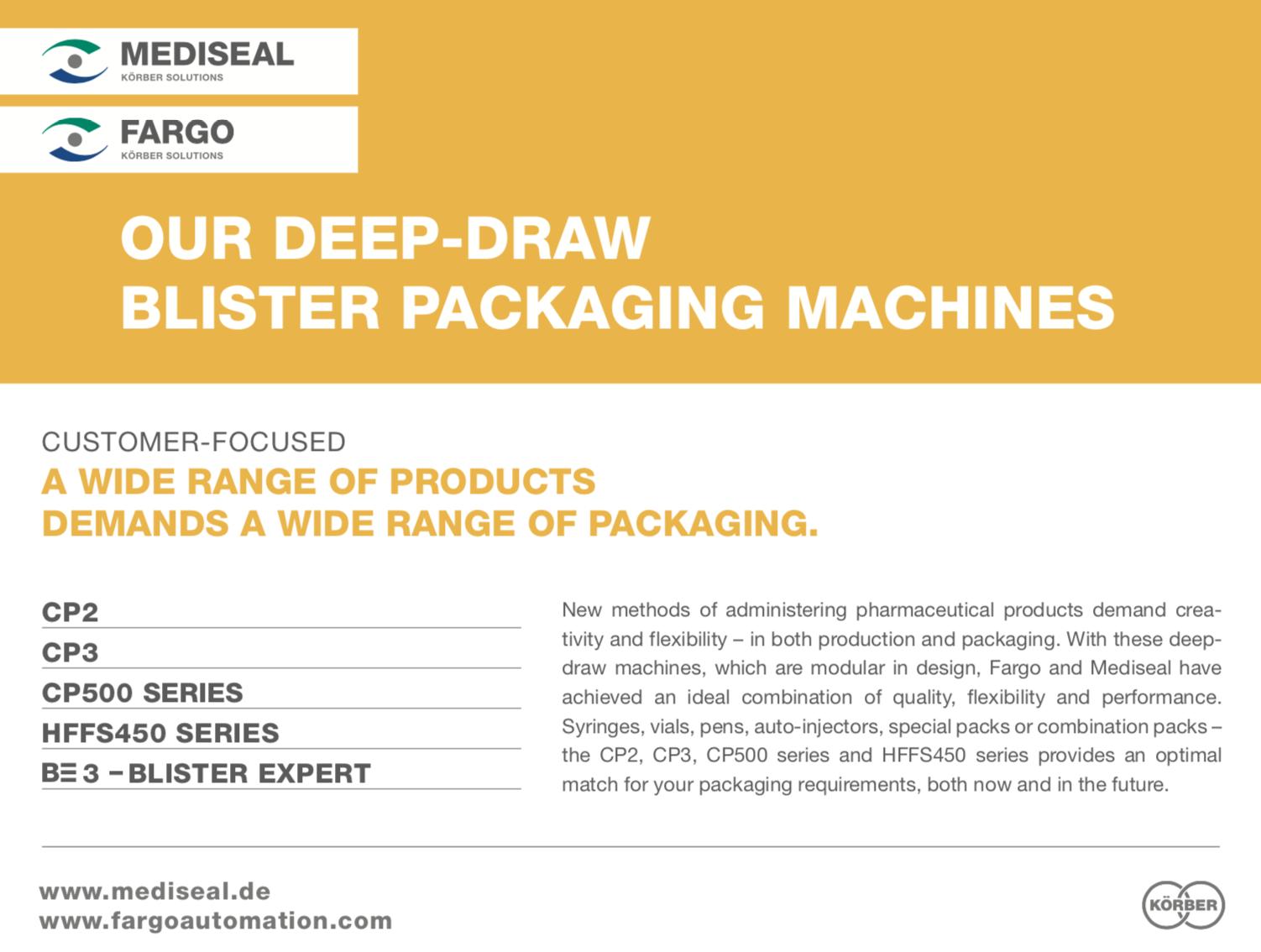 Mediseal Deep-Draw Blister Packaging Machines